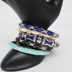Five Sequin NYC Hinged Stacking Bangle Bracelets